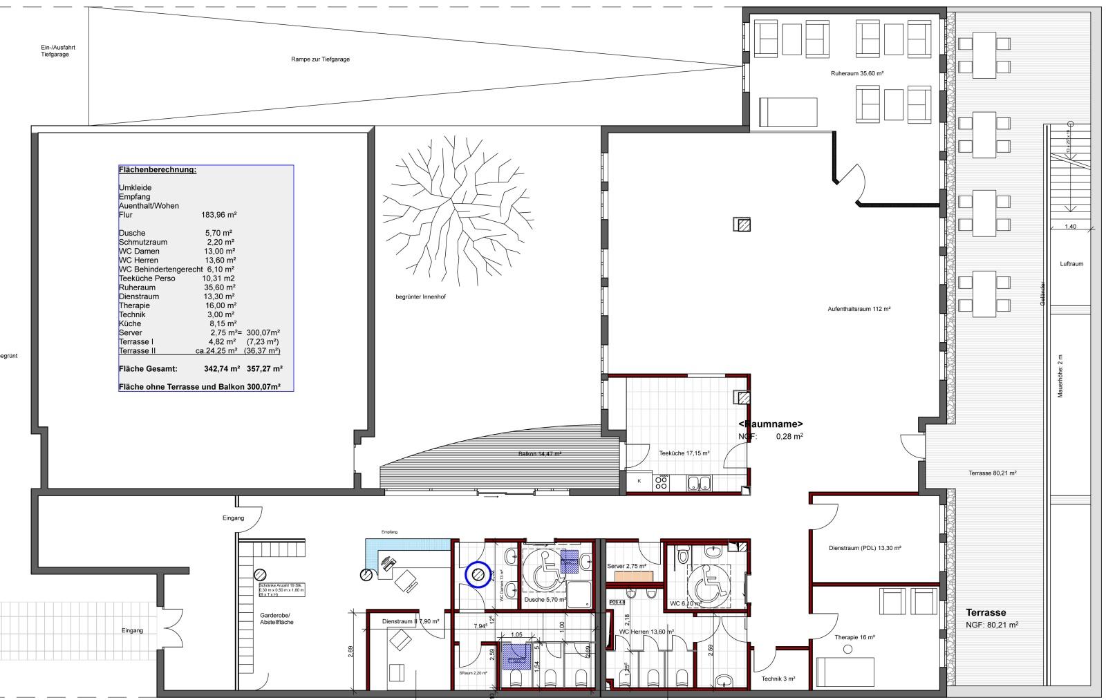 Grundrissplanung einer Pflegeeinrichtung - Architekturbüro Mannheim